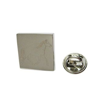 Silver Toned Etched Full Horse Lapel Pin