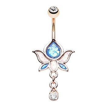 Rose Gold Opal Lotus Flower Drop Dangle WildlKlass Belly Button Ring