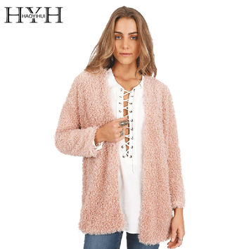 Women Coat Crew Neck Long Sleeve Solid Pink Faux Fur Coat Autumn Winter Streetwear Elegant Casual Cardigans