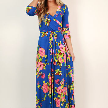 Fields Of Pretty Maxi Dress in Royal Blue