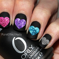 Glitter Heart Nail Decals by PureEffectNails on Etsy