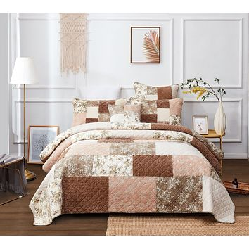 DaDa Bedding Bohemian Patchwork Dusty Tea Rose Mauve Pink & Brown Floral Quilted Bedspread Set (JHW)
