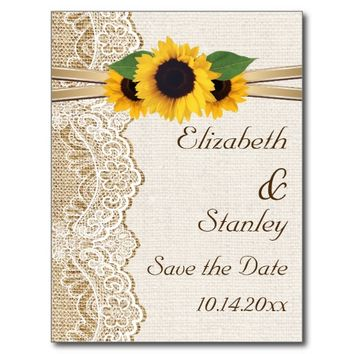 Lace, sunflowers and burlap wedding Save the Date postcards