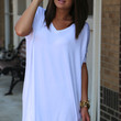 White V-Neck Piko {TUNIC}