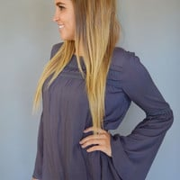 Slate Bell Sleeve Top