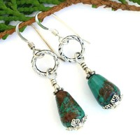 Genuine Turquoise Teardrops Handmade Earrings, Pewter, Sterling Artisan Gemstone Jewelry