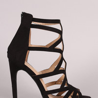Suede Strappy Caged Stiletto Heel