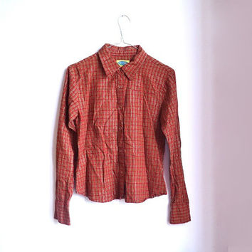 Vintage 90s Plaid Red Shirt Long Sleeve Button Up Blouse Grunge Flannel Small S