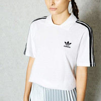 adidas Originals White/Black Three Stripe Polo Neck T-Shirt