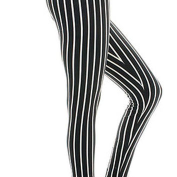 Design 76 - Black and white vertical stripes leggings