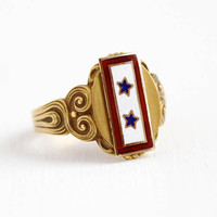 Antique Signet Ring - Vintage 10k Yellow Gold Sons in Service Enamel Blue Star Service Flag - Size 11 1/4 WWI Military Men's Fine Jewelry