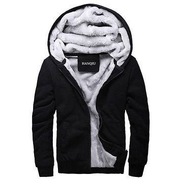 Black Hoodies Men 2017 Winter Fashion Thick Men's Hooded Sweatshirt Male Warm Fur Liner Sportswear Jacket Tracksuits Mens Coat