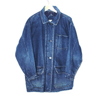 long denim jacket 80s minimal woodland unisex jean work coat