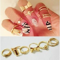 7pcs Set Rings Skull Bowknot Heart Nail Knuckle Rings Band Mid Finger Tip Stacking Rings