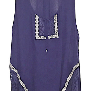 Plus Size Embroidered Lace Peasant Tank Top