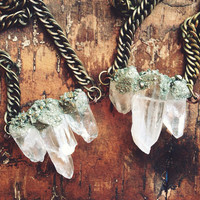 Pixie Dust- Raw Quartz Crystal & Pyrite Stone Necklace