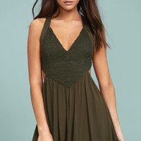 Delightfully Ethereal Olive Green Lace Skater Dress