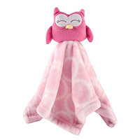 Hudson Baby Velboa Security Blanket, Pink Owl