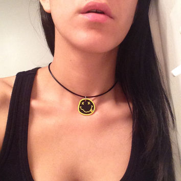 Nirvana Choker / Smiley Face Choker / Nirvana Necklace / Kurt Cobain / Nirvana Necklace / 90s Choker
