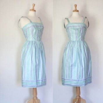 70s Pastel Striped Fit And Flare Sundress