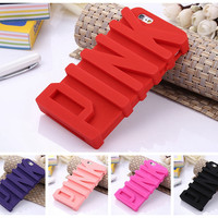 "3D PINK Letter Soft Silicone Rubber Case for Apple iPhone 6 6S plus 5.5"" / 6 6S 4.7"" / 5 5S Back Covers Phone Case Capa Cover"