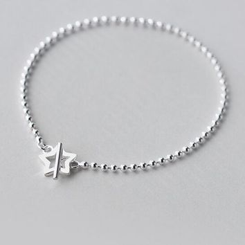 Real. 925 Sterling Silver Lucky Bar &Open Star toggle Bracelet Round (So Thin) Beads Ball Chain Bracelet Lady's GTLS366