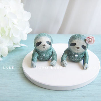 Custom Handmade Wedding Cake Toppers - Cute Sloth