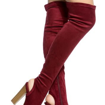 Wine Faux Suede Chunky Cut Out Thigh High Boots @ Cicihot Boots Catalog:women's winter boots,leather thigh high boots,black platform knee high boots,over the knee boots,Go Go boots,cowgirl boots,gladiator boots,womens dress boots,skirt boots.