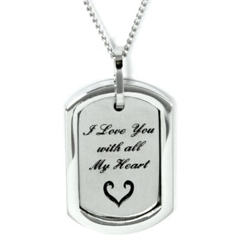 I Love You With All My Heart Pendant Stainless Steel Necklace