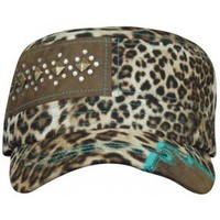 Trenditions Leopard and Turquoise Cadet Ladies Hat