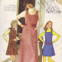 Simplicity 5203 Sewing Pattern 70s Retro Boho Hippie Dress Romper Jumper Peasant Style Apron Size 12 Bust 34