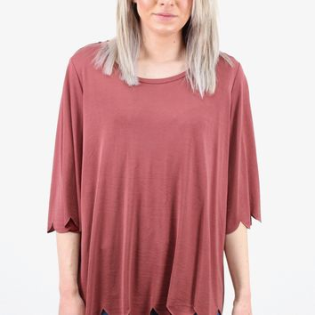 Scalloped Hems Modal Tee {Rosewood} EXTENDED SIZES