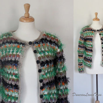 Vintage Sweater / Hand Knit Cardigan / BITS OF NEON / Textured Striped Sweater