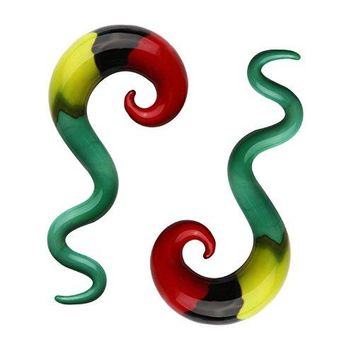 BodyJ4You Glass Spiral Taper Hanger Curved Ear Gauge Rasta Flag 0G 8mm Piercing Jewelry