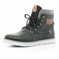 Grey contrast panel chunky sole boots - boots - shoes / boots - men