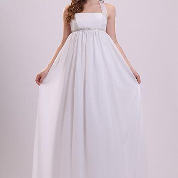 Chiffon Sexy Halter Wedding Dress 2017 Cheap Simple Beaded Wedding Dresses Long Empire Waist Pregnant Women Formal Party Gowns
