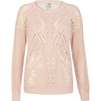 Light pink lace insert cable knit sweater - sweaters - knitwear - women
