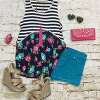Love is More Floral Baby Doll Top: Navy