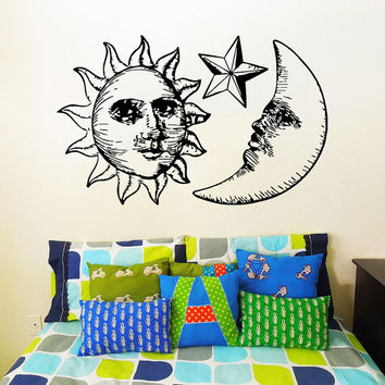 Wall Decal Vinyl Sticker Decals Art Home Decor Design Mural Sun Moon Crescent Dual Ethnic Stars Night Symbol Sunshine Fashion Bedroom AN31