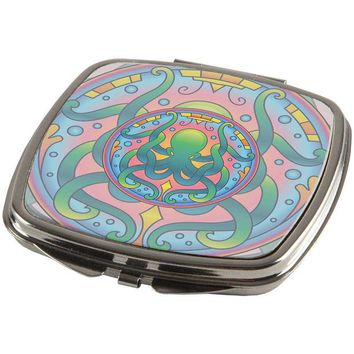 LMFCY8 Mandala Trippy Stained Glass Octopus Compact