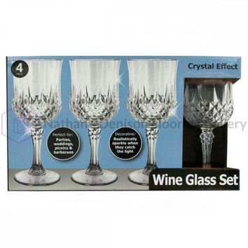 Crystal Effect Plastic Wine Glass Set OH017