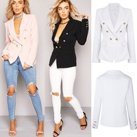 Womens Double Breasted Gold Button Front Military Style Blazer Coat Jacket Suits