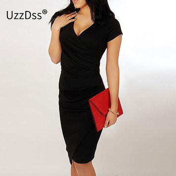 UZZDSS New Fashion 2016 Elegant Celebrity V-neck Pregnant Women Short Sleeve Knee-length Cotton Casual Bodycon Women Dresses