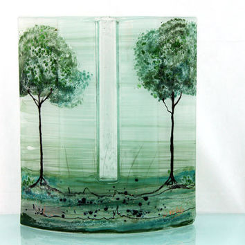 Fused glass  vase, green grass landscape