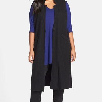 Plus Size Women's Eileen Fisher Notch Collar Merino Long Knit Vest,