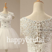 Short White Lace Bridesmaid Dresses Tulle Prom Dresses Party Dresses Homecoming Dresses 2014 Wedding Events