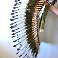 Medium Indian  White and Dark   Feather Headdress ( 43 inch long / 110 cm )