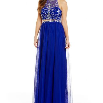 Blondie Nites Beaded Halter Neck Illusion-Yoke Top Two-Piece Long Dress | Dillards
