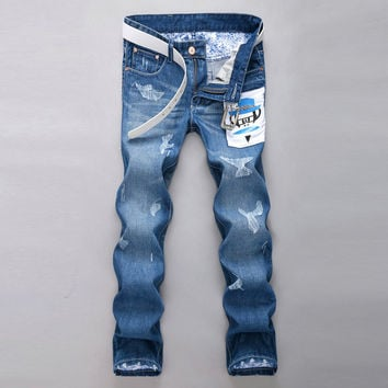 Men Ripped Holes Strong Character Korean Slim Pants Jeans [6528346115]