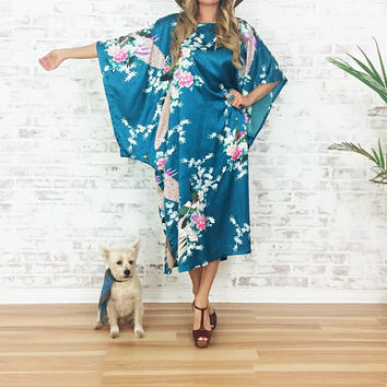 Vintage 1970's TROPICAL PEACOCK Kimono Caftan || Floral Satin Boho Hippie Maxi Goddess Dress || One Size Fits Most